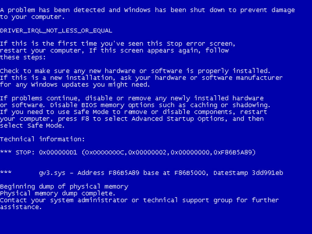 Windows Error de Pantalla Azul